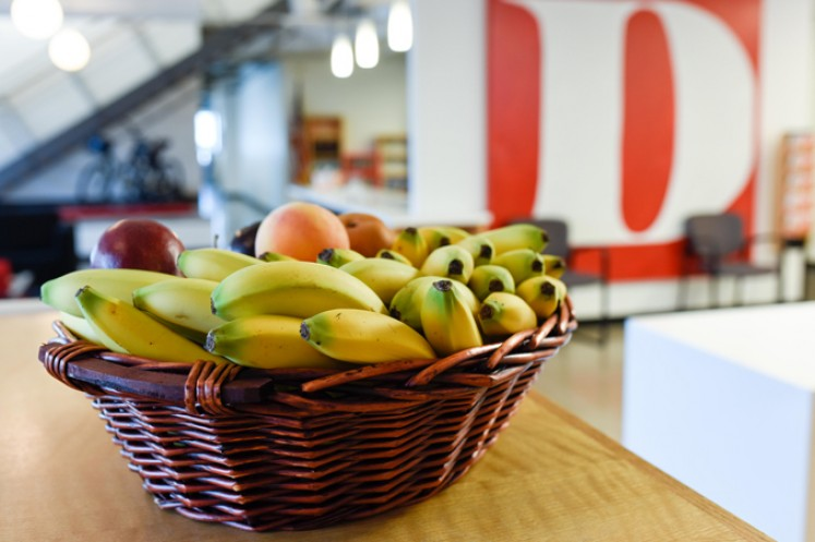 Fresh fruit basket with D Magazine logo in the background