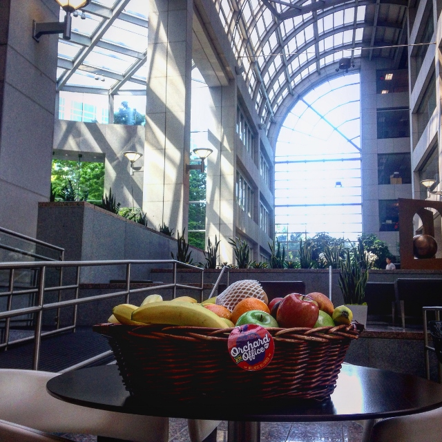 Fruit basket in office atrium