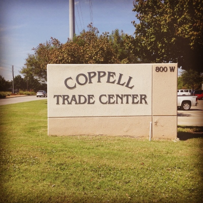 Signage for the Coppell Trade Center outside Dallas