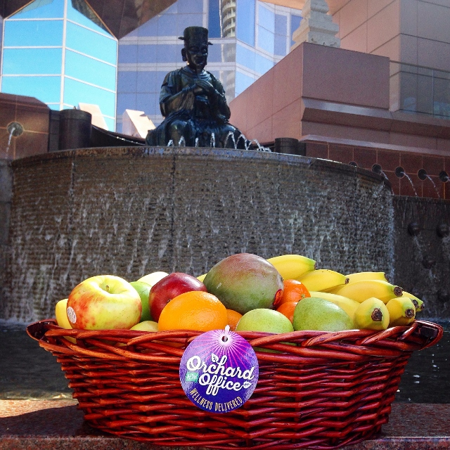 Fresh fruit basket outside the Trammell Crow building