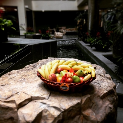 Fruit basket by building fountain indoors