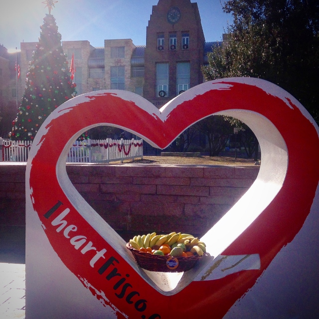 A fruit basket in front of city hall in Frisco, Texas
