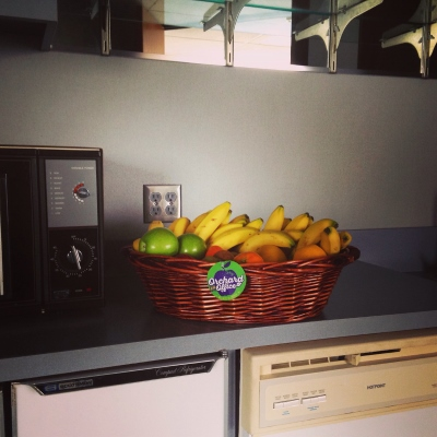 Fresh fruit basket in office kitchen with 1980's appliances