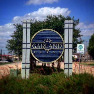 City limit sign for Garland, Texas