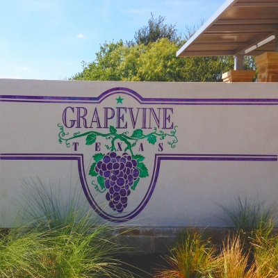 City limit sign for Grapevine, Texas