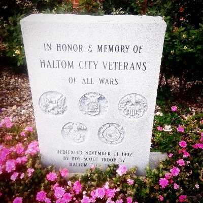 The veteran memorial in front of the library in Haltom City