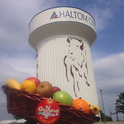 The water tower for Haltom City, Texas, with a fruit basket in foreground