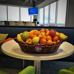 Fresh fruit basket in a Houston office