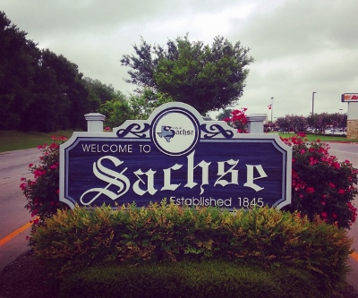 City limit sign for Sachse, Texas