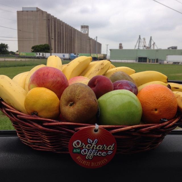 Wicker fruit basket in front of series of grain silos in rural setting