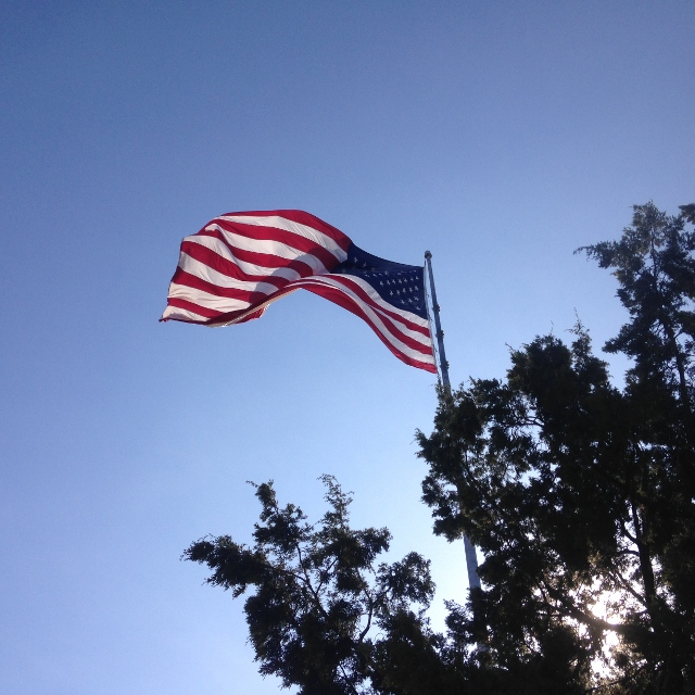 The American flag at Flag Pole Hill by White Rock Lake