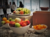 Fresh fruit displayed in office kitchen environment