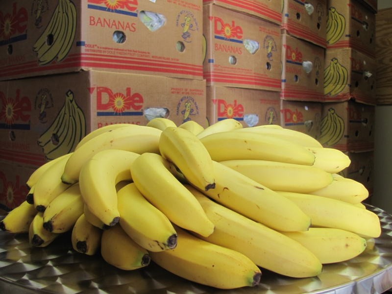 Bananas arranged on a table in front of a pallet