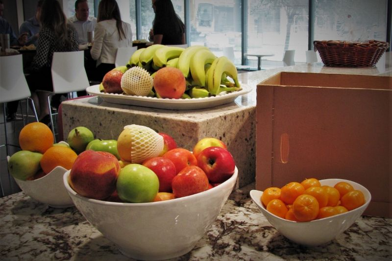 Fresh fruit on display in an office environment